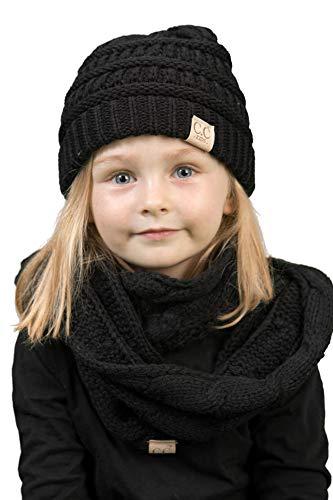 K1-3847-06 Kids Beanie & Scarf Bundle : Solid Black
