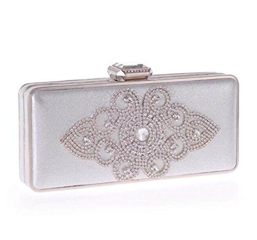 La Moda El Paquete De La Cena El Bolso Coreano El Embrague El Paquete De Diamantes Las Mujeres Bolsas De Artesanía Silver