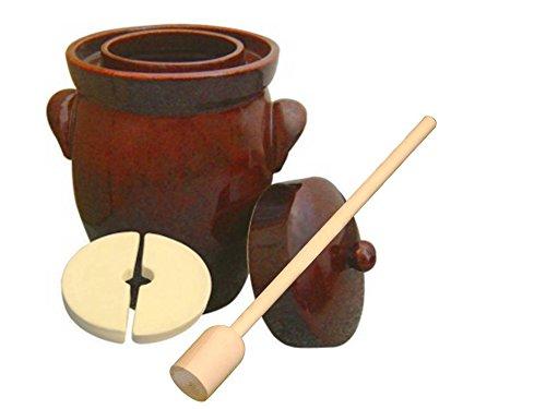 10L (2.36 Gal) K&K Keramik German Made Fermenting Crock Pot, Kerazo F2, Plus Beech wood Tamper