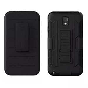 Para Galaxy Note 3 Funda , ivencase 2 in 1 Carcasa Trabajo Pesado Cinturón Acortar Pata de Cabra Cuerpo Entero Escabroso Híbrido Posterior Fit Samsung Galaxy Note 3 III N9000 Negro