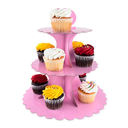 3 Tier Cupcake Cardboard Stand with Blank Canvas Design for Pastry Servings Platter, Birthdays, Dessert Tower Decorations (1 Stand) (Pink)