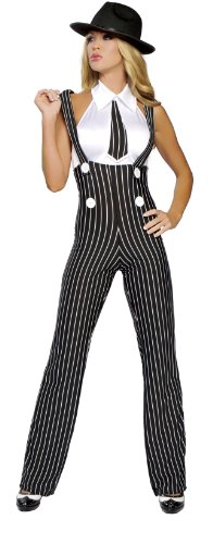 Roma Costume 2 Piece Gangsta Mama Costume, Black/White,