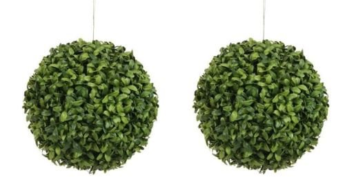 Two 6 Inch Outdoor Artificial Boxwood Topiary Balls Uv Rated Potted Plants by Silk Tree Warehouse