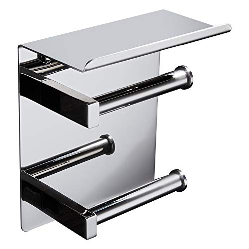 - BAIANLE Toilet Paper Towel Holder Bathroom Double Roll Holder Wall Mount Stainless Steel with Tray