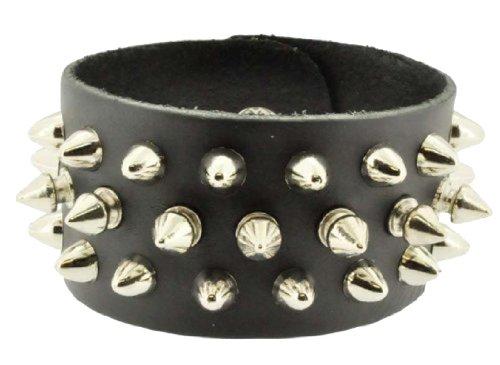 Unisex Black Brown Metal Spike Studded Punk Rock Biker Wide Strap Leather Bracelet (Black Spikes)