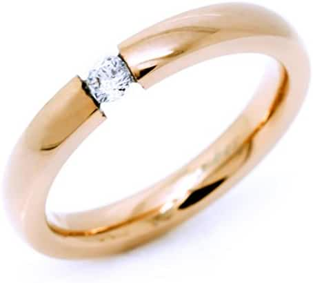 3mm Pink Rose Gold Plated Stainless Steel Ring with Tension Set Cubic Zirconia