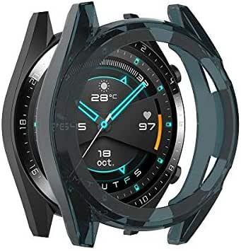 حافظة ساعة هواوي جي تي / جي تي 2 46 مم من البولي يوريثان الحراري حافظة رياضية أنيقة ملحقات ساعة ذكية - أزرق شفاف