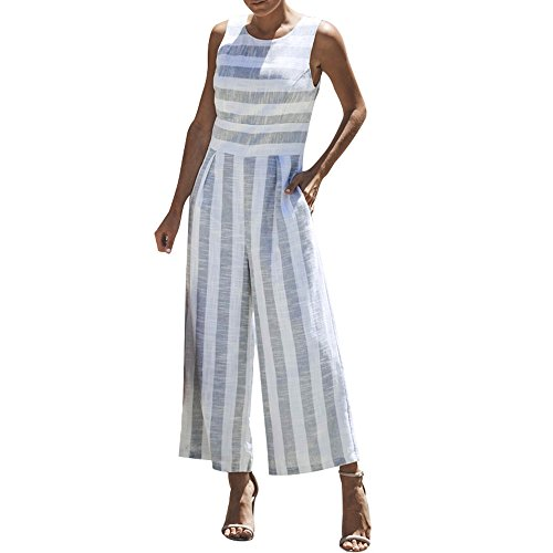 (Dressin Women 's Casual Jumpsuit, 2019 Fashion Stripe Overalls Sleeveless Round Neck Wide Leg Pants Playsuit Rompers Light Blue)