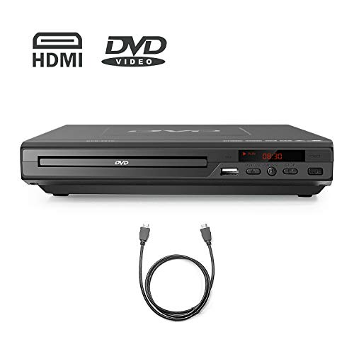 HDMI DVD Player-Digital DVD Player for TV Support 1080P Full HD Come with HDMI Cable Remote Control and Built-in PAL/ NTSC System, USB Input DVD Players