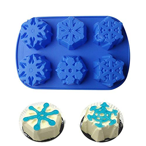 aliveGOT 6-Cavity Silicone Snowflake Soap Molds Silicone Cake Jelly Mold for Wedding Party