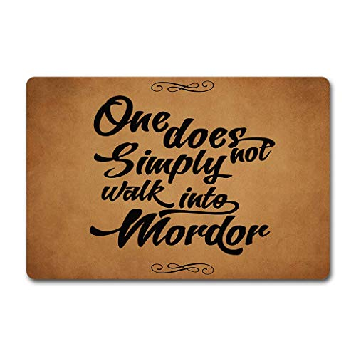 Needyounow Funny Words Saying One Does Not Simply Walk Into Mordor, Humor Polyester Welcome Door Mat Rug Indoor Mats Decor Rug for Home/Office/Bedroom Skiding-prooof,23.6