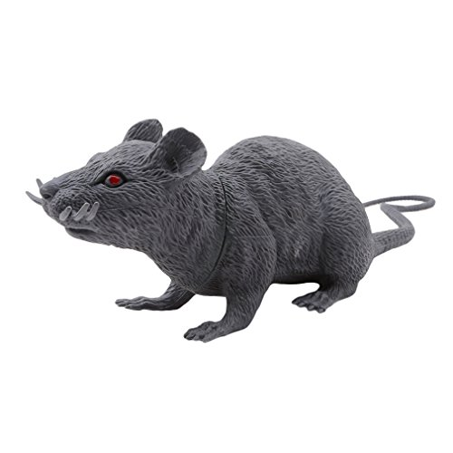DONGMING Realistic Fake Mouse Prank Toy Decoration Prop Plastic Rats Mouse Model Figures Kids Halloween Tricks Pranks Props Toy Looking Spooky Mice Festival Horror Scary Toys,Large Gray -