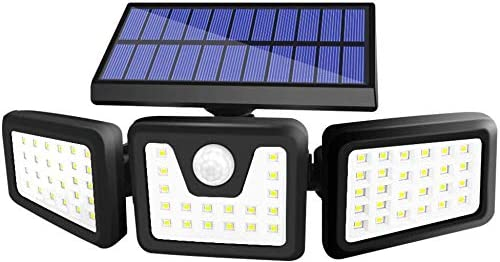 BEACON Solar Lights Outdoor, 800LM Wireless LED Solar Motion Sensor Lights Outdoor, 3 Adjustable Heads, 270 Wide Angle Illumination, IP65 Waterproof, Security LED Flood Light 1Pack