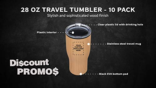 Challenger Travel Mug Tumbler With Wood Style Finish 28 Oz. - 10 pack - Customizable Text, Logo - Simple Insulated Double Walled Tumblers That Keep Your Drink Hot Or Cold For Hours - Beach Wood