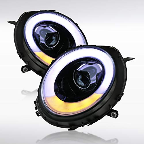 Autozensation For Mini Cooper Glossy Black Smoke LED Bar Halo Ring Projector Headlights Pair