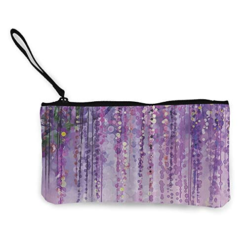 (MODREACH Women's Wristlet Wallet Clutch for Smartphones with Wrist Strap Card Coin Purse Case - Art Printing Decor Collection Spring Landscape Purple)