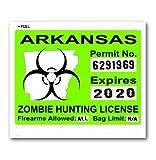 Arkansas AR Zombie Hunting License Permit Green - Biohazard Response Team - Window Bumper Locker Sticker