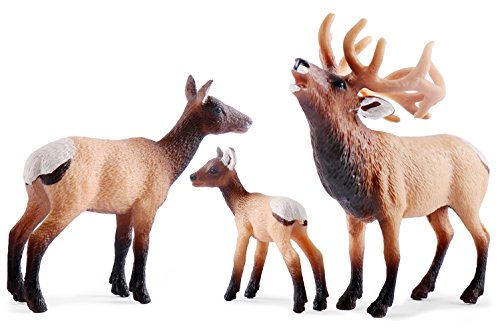 UANDME Elk Toy Figurines Set, Elk Family Figures Cake Toppers