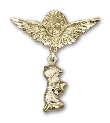 ReligiousObsession's 14K Gold Baby Badge with Praying Boy Charm and Angel with Wings Badge ()