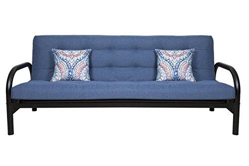 FurnitureKraft Jackson Three Seater Futon Sofa Cum Bed with Mattress  Glossy Finish, Blue