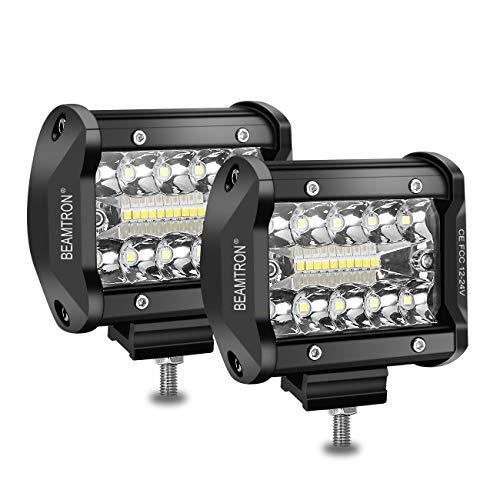 BEAMTRON Led Light Bar 4 Inch 120W 12,000Lm Led Light Pods Waterproof Driving Fog Lights Spot Flood Backup Lights Combo Off Road Lights for Trucks SUV UTV ATV Pickup RZR Polaris Jeep Marine -2 Pack