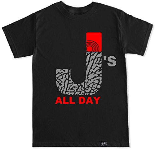 FTD Apparel Men's J's All Day Mary J Smoke Air Retro 3 T Shirt-XL Black
