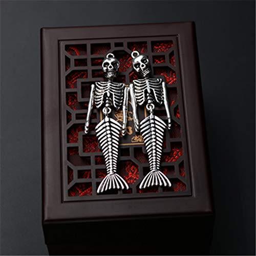 Pasona- Charms - 4pcs Antique Silver Fantasy Mermaid Skeleton Charm Alloy Pendants for Necklaces Bracelets DIY Fashion Jewelry Making A604 - by Pasona - 1 PCs ()