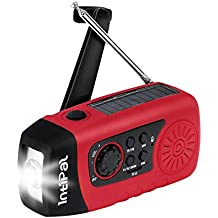 IntiPal 2000mAh, Emergency Solar Hand Crank FM Radio, MP3 Player, Flashlight, Smart Cell Phone Charger w/ USB Cable (Red)