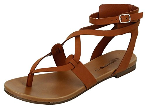 Womens Open Toe Ankle Strap Cage Cutout Flat Strappy Flats-Sandals, Tan Pu, 7.5