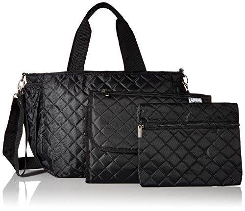 Simplily Co. Multi-function Diaper Tote Bag 5 PCS Set for Everyday or Travel w/Over the Handle Sleeve (Black)