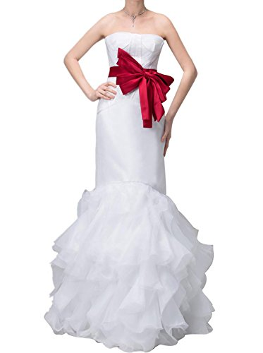 Albizia Tulle Ribbon Trumpet Satin Dropped Waist Wedding (Dropped Waist Wedding Dress)