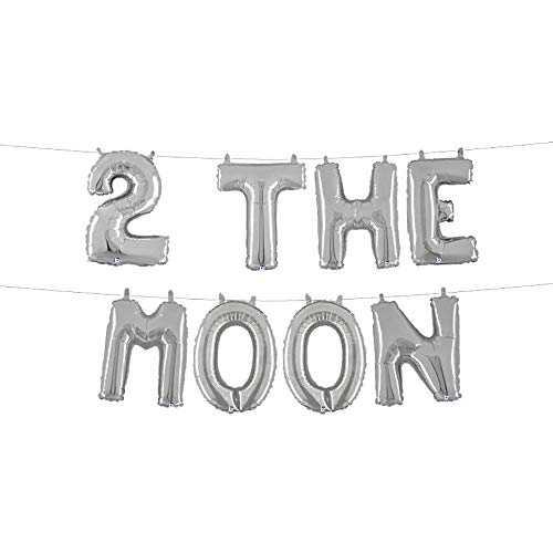 Moon Foil - 2 the moon Space Party Birthday Hanging Banner Balloon, 8Pcs 16inch Silver Letters Foil Mylar Balloon Party Decorations