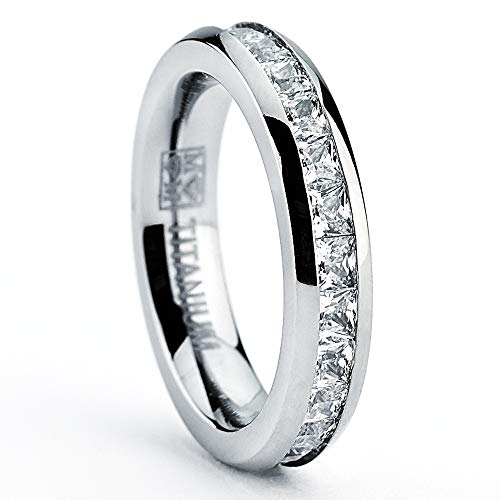 (3MM High Polish Princess Cut Ladies Eternity Titanium Ring Wedding Band with Cubic Zirconia CZ Size 4 to 9(Multi-Color,one Size))