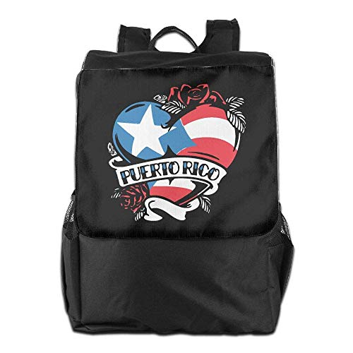 Puerto Rico Tattoo Heart Flag Women Men Laptop Travel Backpack College School Bookbag ()