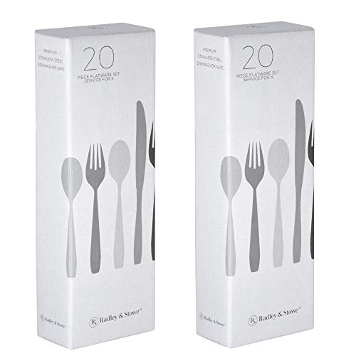 Radley & Stowe 20-Piece Flatware Solid Stainless Steel Silverware Set (Designer Grade with Matte Finish Handle) (8-Set (40-piece))