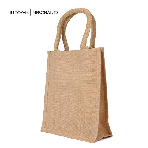 Jute Burlap Tote Bags - Natural Burlap Bags with Cotton Handles - (12 Pack/Small) - Reusable Tote Bags with Laminated Interior - Shopping Bag/Grocery Bag/Gift Bag