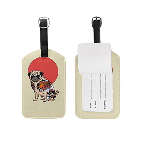 CWLTAG Tattoo Pug Ruffian PU Luggage Tags Privacy Protection Baggage Tag Trendy Travel Bag Mark Accessories Name/Add/Tel Card Pet Mini Gift