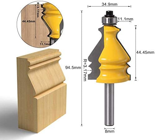 Gulakey 木工8ミリメートルシャンク5行目アームレストは、ナイフブレードレースラインのナイフブレードトップライン彫刻機のドアルーカッター木工ツールをマウント