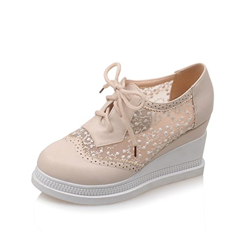 Lucksender Womens Lace Up Platform Mesh Lace Oxford Shoes Beige DBZLGF