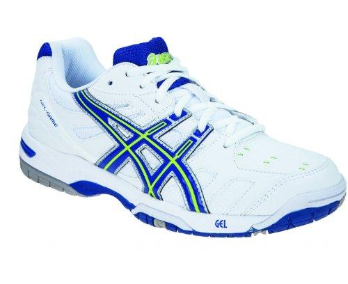 Asics Gel-Game 4–Zapatillas de tenis para mujer Blanco / Azul Royal / Verde
