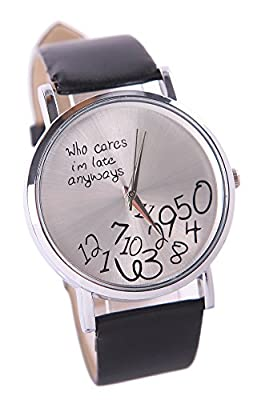 COCOTINA Womens Mens Funny Comment Wrist Watches Who Cares Im Already Late(Black)