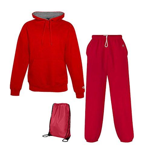 Champion Men's Cotton Max Fleece Sweatsuit, Top: M / Bottom: S, Scarlet (Men Champion Sweatsuits compare prices)