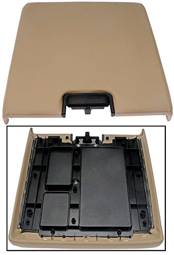 APDTY 035948 Center Console Lid Assembly w/ Latch Fits 2007-2013 Cadillac Escalade Chevrolet Silverado Suburban Tahoe GMC Sierra Yukon (Tan Vinyl; Replaces 20864153)
