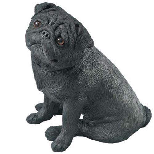 Sandicast Mid Size Black Pug Sculpture, Sitting