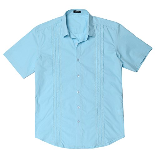 Cuban Cigar Shirt (Gotchicon Mens Short Sleeve Cuban Guayabera Shirt Pintuck Embroidery Shirt Blue Large)