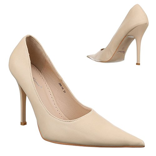 Ital-Design Damen Schuhe, 269-1A, Pumps High Heels Stiletto Creme