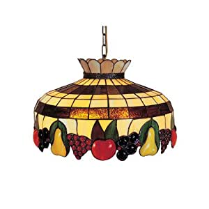 Dale Tiffany 3092/3LTA Fruit 3-Light Hanging Light Fixture, Antique Brass and Art Glass Shade