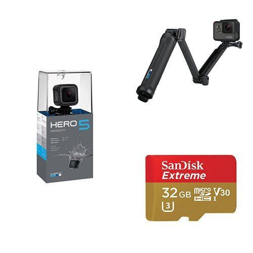 GoPro HERO5 Session w/ 3-Way Grip and Memory Card Action Cameras