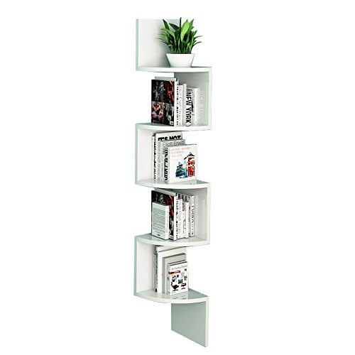 LOYOKI Wall Mount Decor Space Saving Corner Shelves Bookcase White Finish
