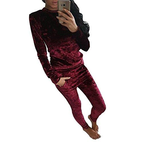 Longwu Women Pleuche Long Sleeve Rompers Jumpsuit Bodycon Two-piece Set Clubwear Red wine-L